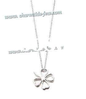 silver fashion little flower pendant necklace