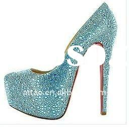 sky blue diamond high heel shoes / hottest sale red sole women shoe