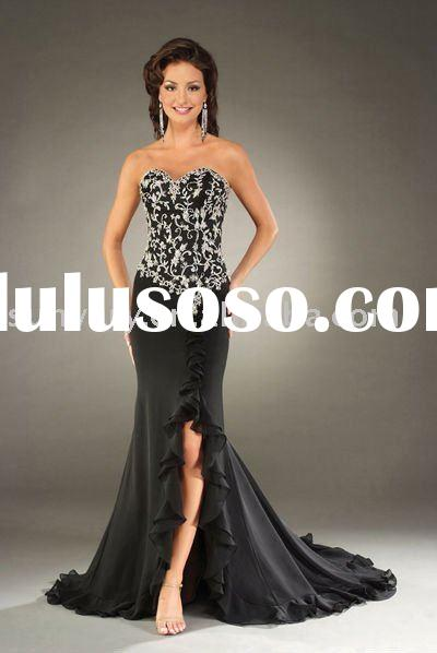 white black prom dress evening dress embroider strapless 2010 Newest Style Plus Size