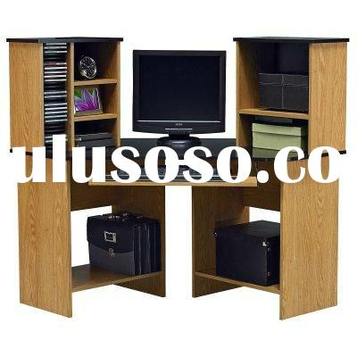 wooden bookcase with computer desk