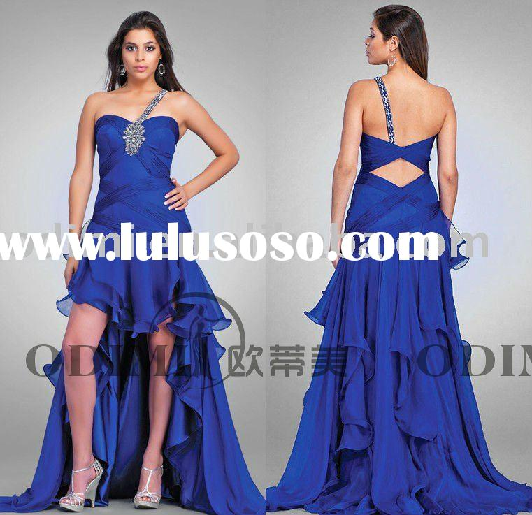 2011 Bule Short Front And Long Back Evening Dress