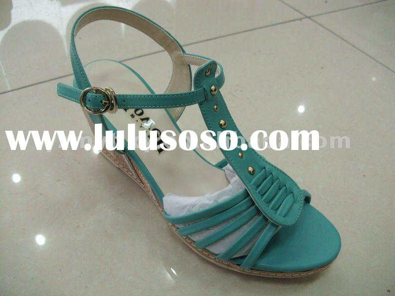 2012 new wedges lady leather sandals shoes LEATHER