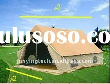4 person canvas material steel pole double roof waterproof outdoor family tent