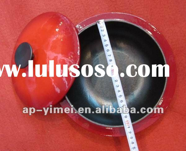 Anti pasti enamel non-stick steel korean soup pot red