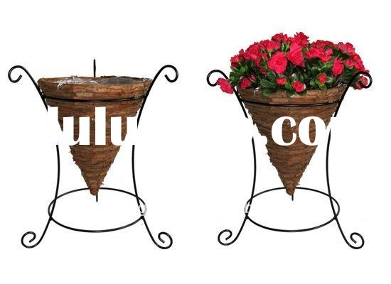 Bark Cone planter wire stand - Wrought iron flower stand