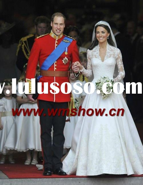Beautiful Style Satin Ballgown Long Sleeve Lace Wedding Dresses
