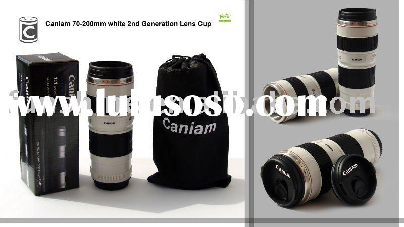 Caniam 70-200mm lens mug with stainless steel interior and lock cover