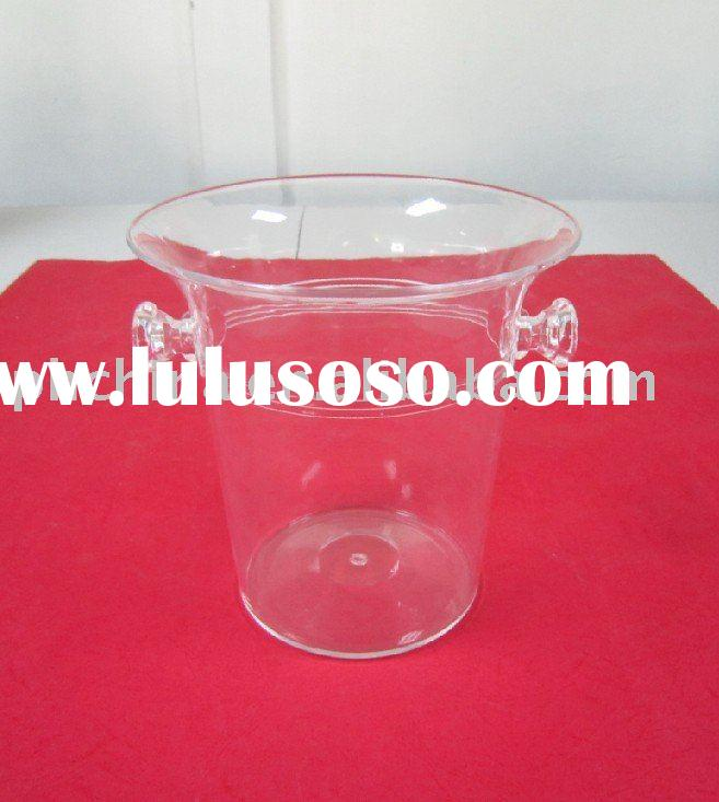 Clear Acrylic Ice Bucket with Handle;Acrylic Wine Bucket;Acrylic Champagne Bucket