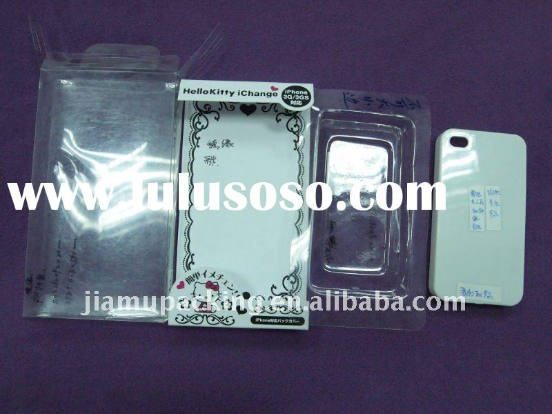 Clear plastic box with card for cell phone case packaging