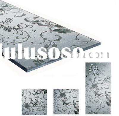 Decorative building floor and wall glass tile