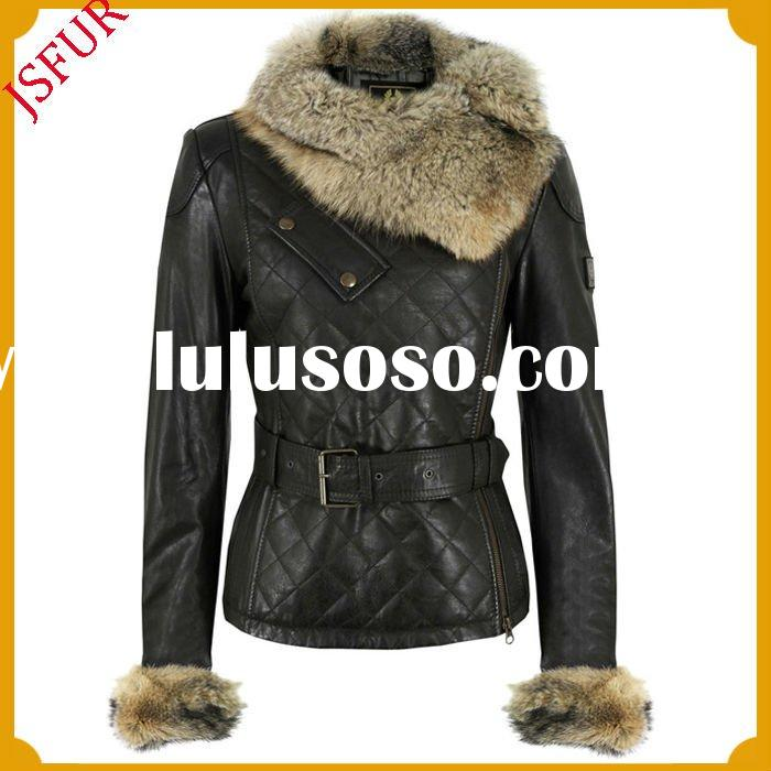 Fashion women's fitted antique black leather motorbike jacket with a luxurious asymmetric fo