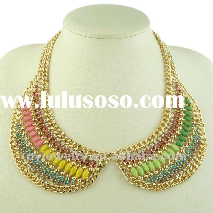 Fine Handmake Collar Necklace, Colorful Diamond Chunky Costume Jewelry