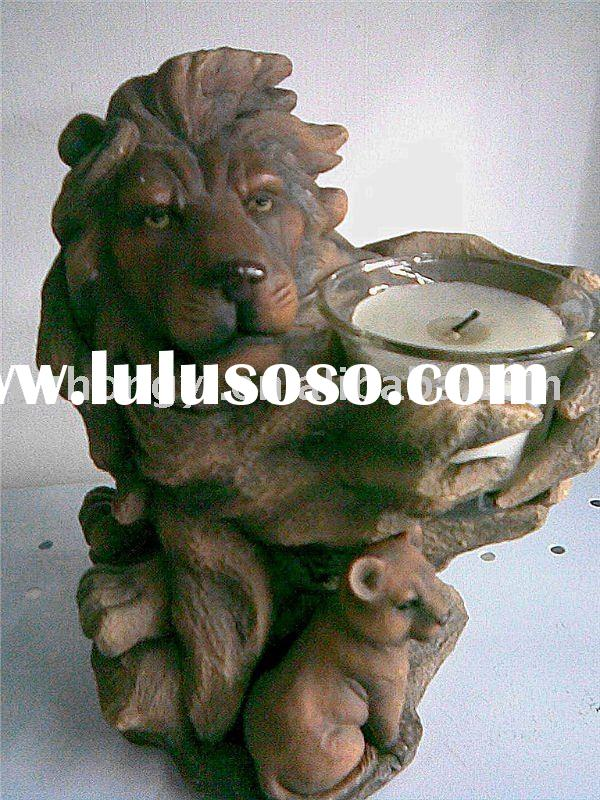 Glass Candle Holder With Lion Statue