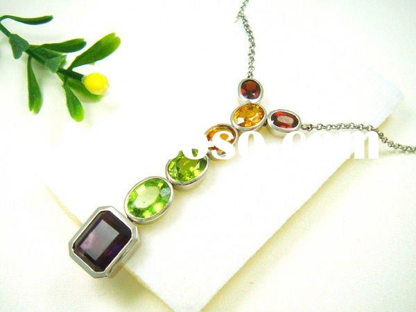 High quality necklace with crystal /alloy crystal whistle necklace/yellow crystal necklace