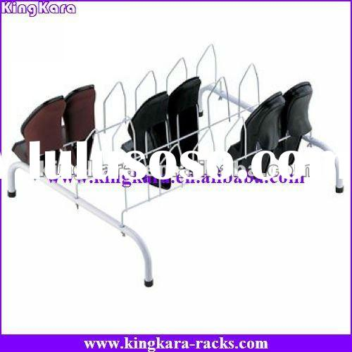 KingKara Metal 9 Pair Tubular Shoe Rack for store shoes