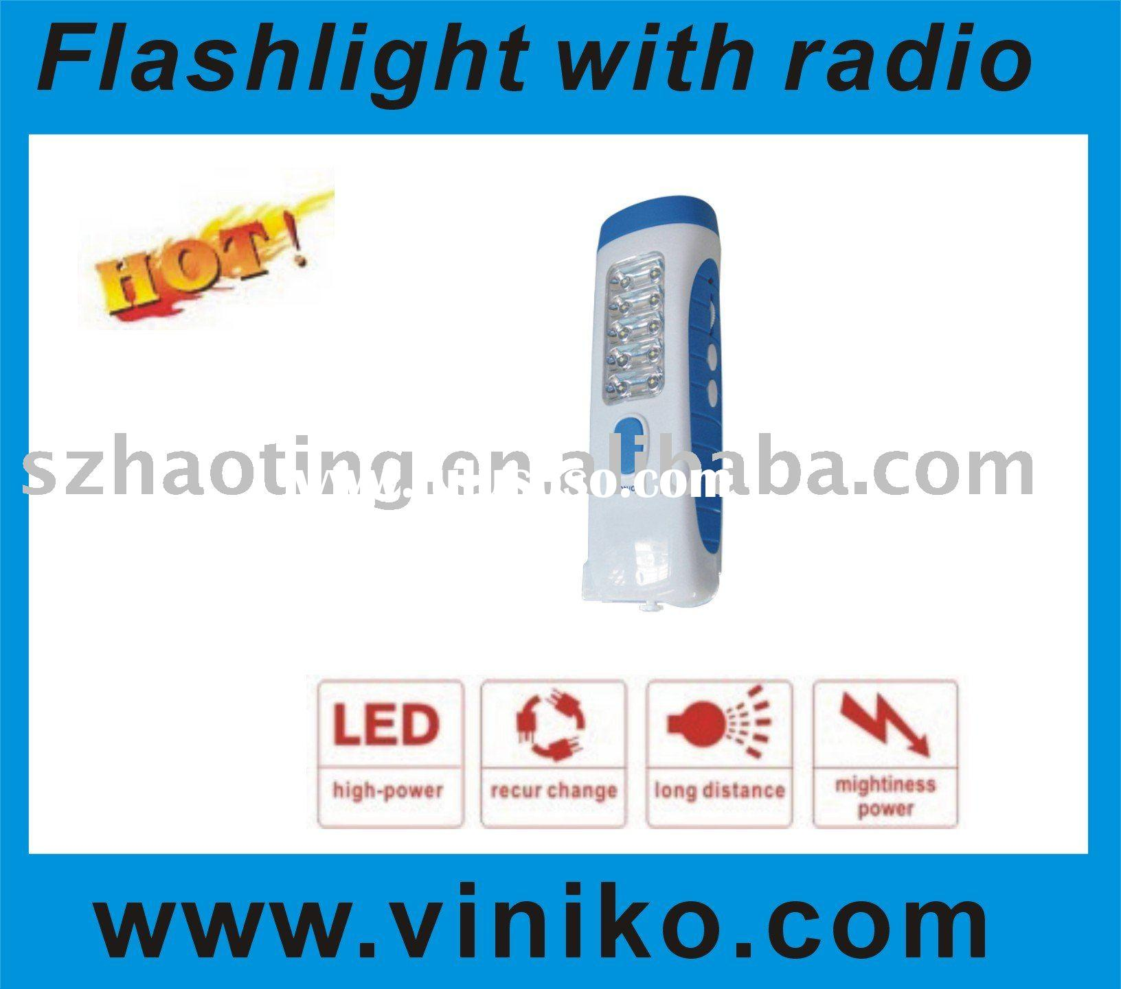 LED rechargeable flashlight/LED torch/led light bulb/torch With FM radio