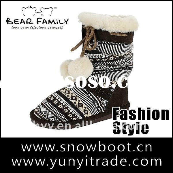 Latest design knitted boots Colorful fashion winter snow boots