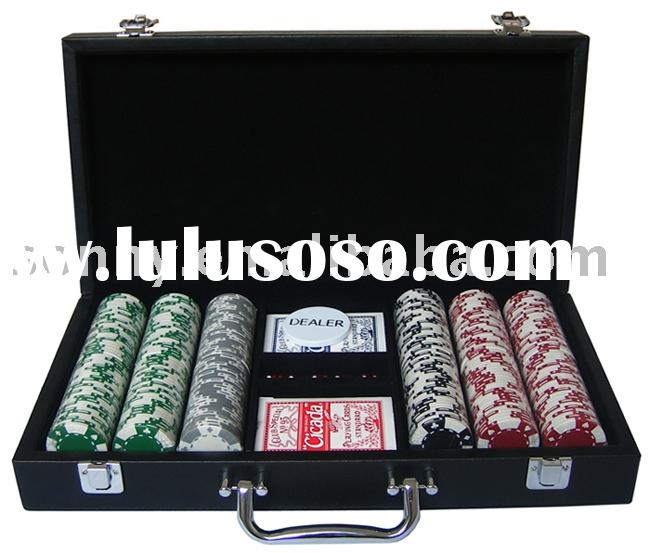 Leather Chip Game Set with 2 decks poker
