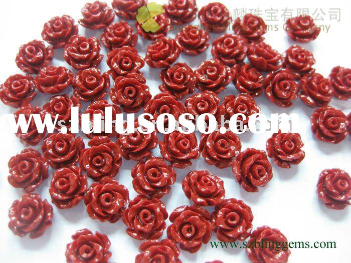 New arrival wholesale semi precious stone jewelry synethetic coral flower carved loose bead