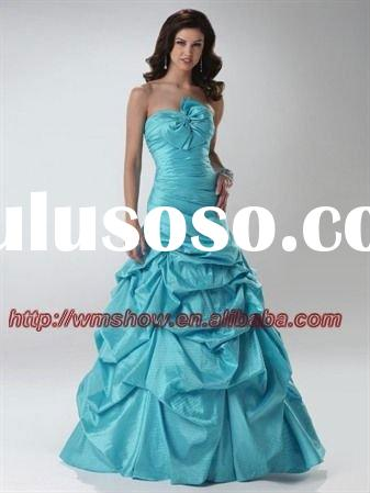 Newest Design Bowknot Strapless Taffeta Ruffle Ball Gown Ice Blue Wedding Dress