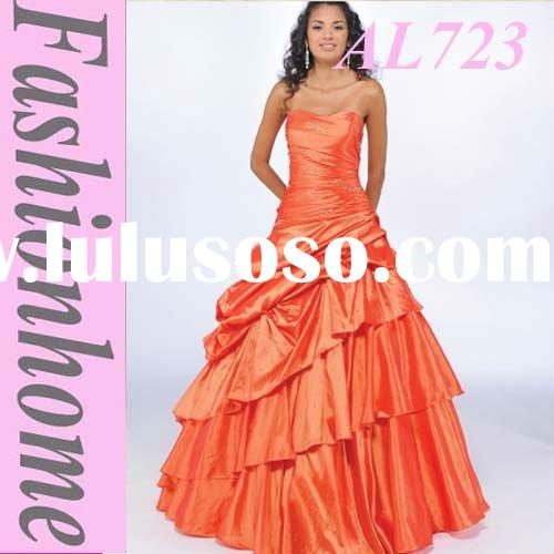 Pleating Orange Evening Dress, Formal Party Dress, Occasion Evening Wear AL723