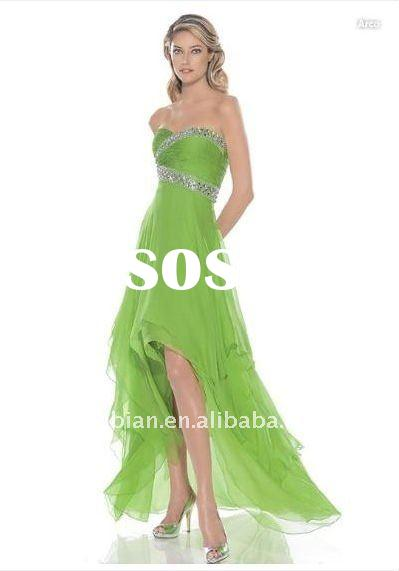 Strapless Sweetheart Neckline Ruched Bodice Light Green Organza Bridesmaid Dress