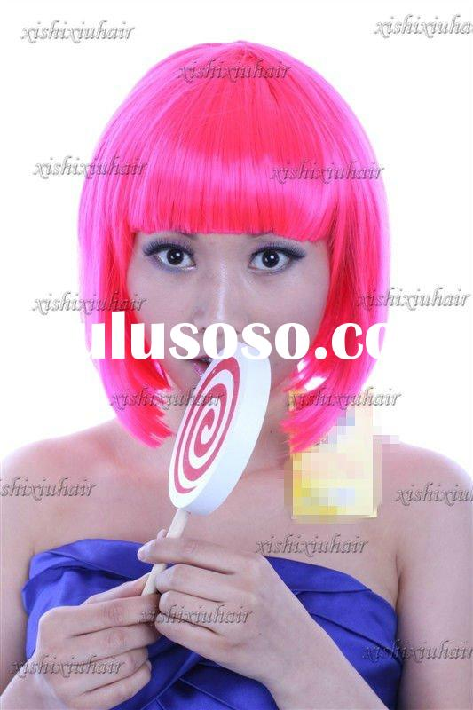 The popular cheap short bright color synthetic wigs for sale
