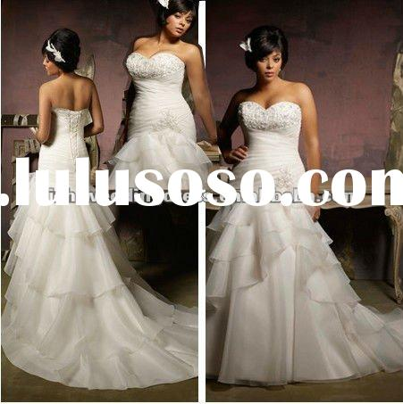 W05091 2012 Hot Sale Plus Size White Mermaid Organza And Beads Customer-made Wedding Dress