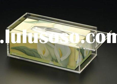 acrylic facial tissue box holder with sliding lid