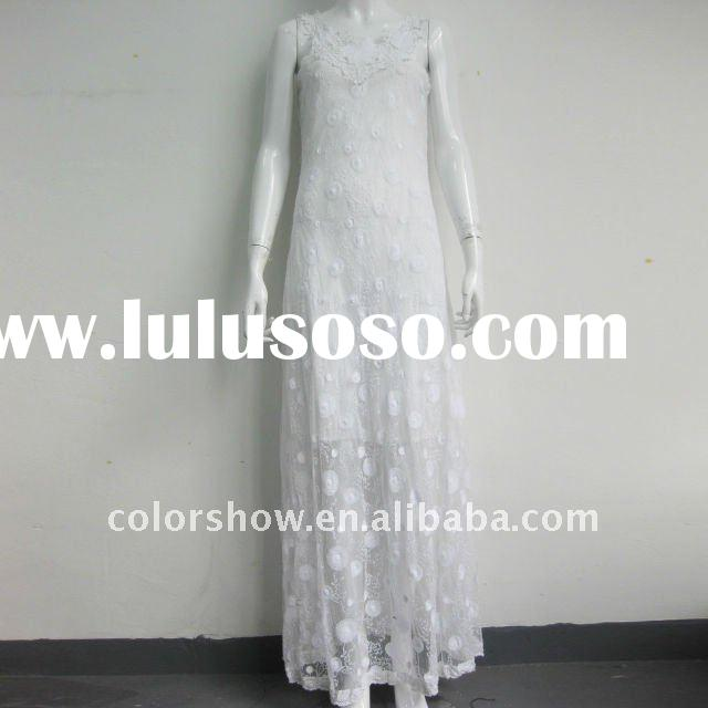 fashion ladies white lace summer long dresses for 2012