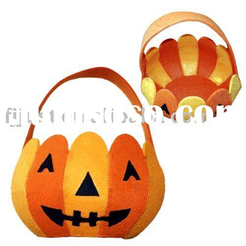 orange pumpkin halloween tote bags with LED