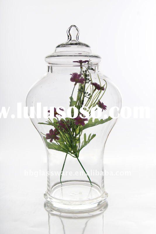 solid glass large glass jar with lid (storage jar)