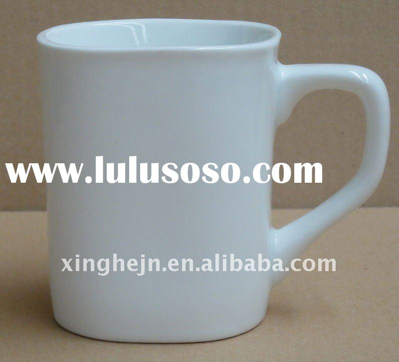 square shape ceramic white coffee mug