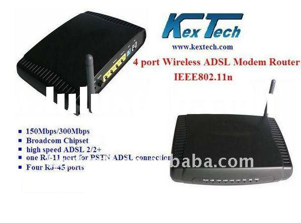wireless four port ADSL Modem with Router, wifi adsl router
