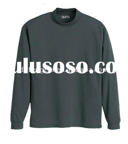 100% polyester popular mens long sleeve mock neck t shirt