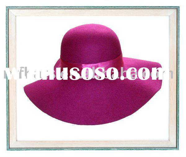 100% wool silk ribbon band floppy felt hat