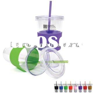 16oz double wall straw mug with Ribbed Grip, BPA Free,plastic insert paper mug