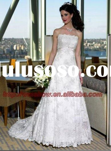 2011 New Style Off shoulder Appliqued Wedding Dress Lace