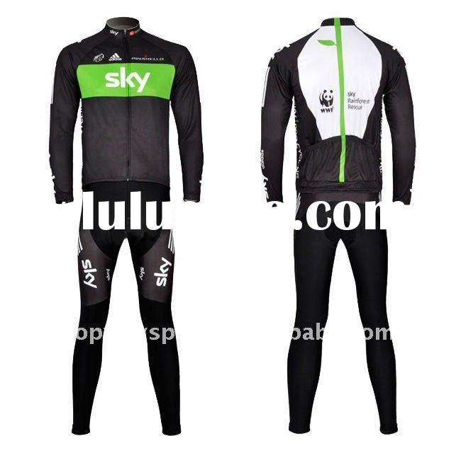 2011 Sky Green Long Sleeve Bicycle Jerseys with High Performance