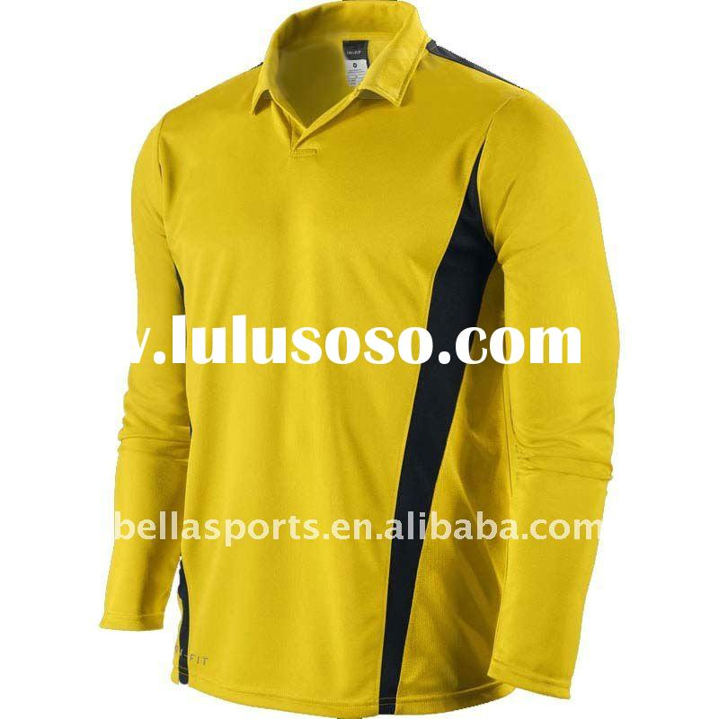 2011 yellow stand up collar Comfortable fit dryfit sports/soccer jersey long sleeve
