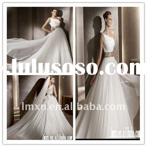 2012 A-line one-shoulder floor-length chiffon luxury bridal wedding dress