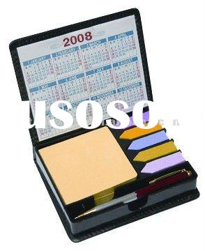 2012 Leather cover box sticky note pad with pen