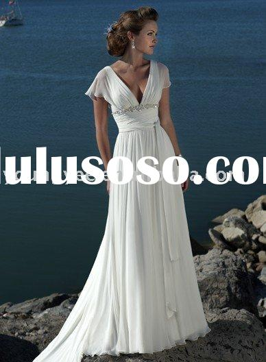 2012 New style cap sleeve floor length chiffon wedding dresses with detachable train in lebanon arab