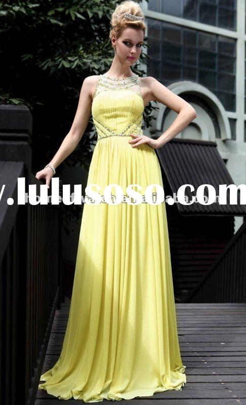 2012 Prom Dress,Yellow Lady Sleeveless Formal Evening Prom Dress with Beads and Crystals (NBY0DR3082
