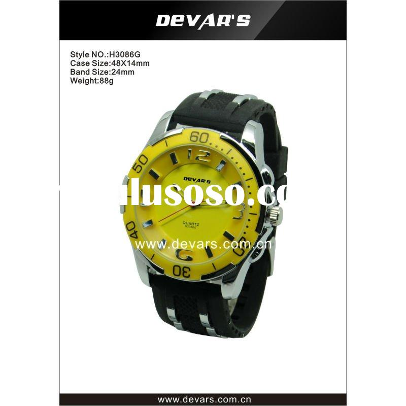 2012 hot sale men watches with silicone and stainless steel band cheap wrist watches H3086