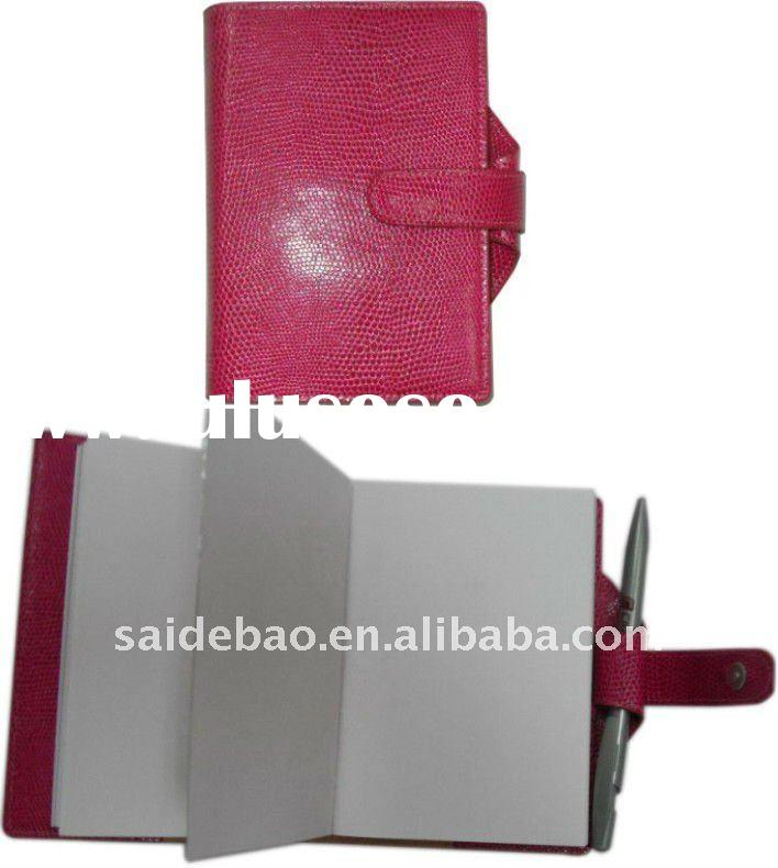 2012 leather diary note book with pen holder
