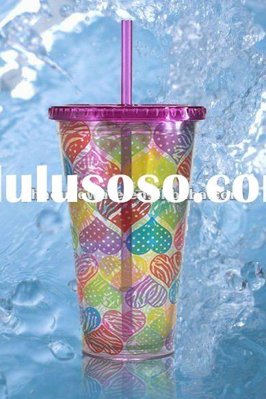 24oz ps plastic drinking mug with straw and lid