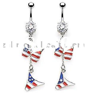 American Flag Bra and brief fashion piercing jewelry navel body ring