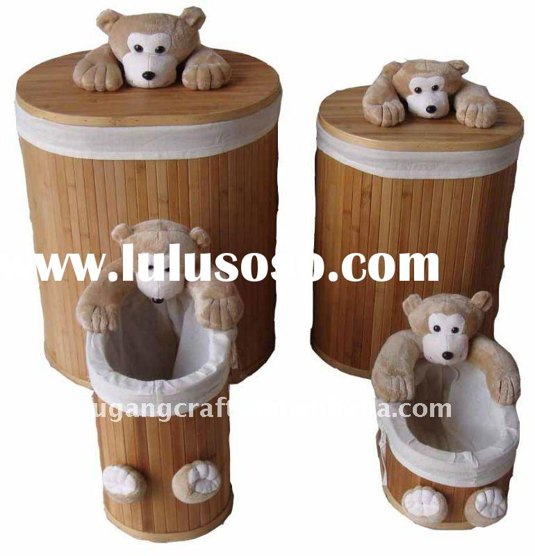 Bamboo laundry basket with lid and liner set/4