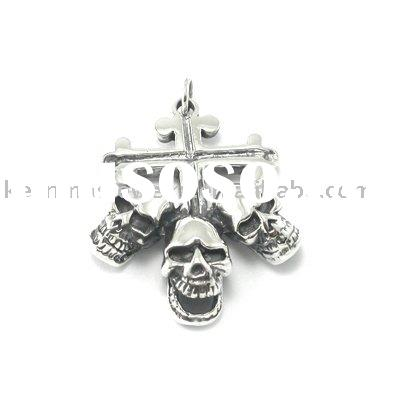 Charm skeleton pendant for men and women, 925 sterling/brass silver jewelry, rhodium plated
